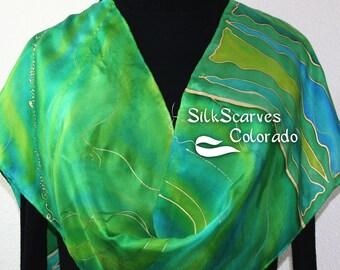 Silk Scarf Hand Painted. Green, Emerald, Turquoise Handmade Scarf IRISH SPRING. 11x60. Silk Scarves Colorado. 100% silk. Hand Dyed.