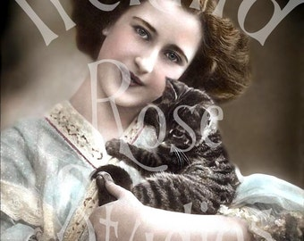Charlotte and Max-Victorian Woman and Her Cat-Digital Download-French Postcard