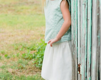 Mint Flower Girl Dress--Retro Flower Girl Dress--Polka Dot Overlay--Chiffon Skirt--Tons of Colors to Choose From-Perfect for Weddings Church