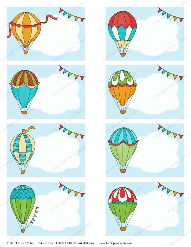 Hot Air Balloon Printable Labels Colourful Balloons Cloud