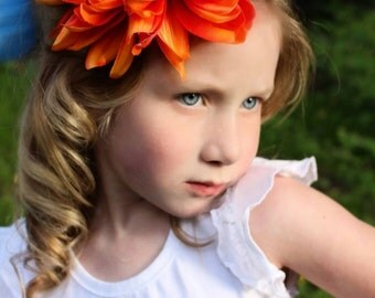 Orange flower clip, or orange flower headband, large flower clip,large flower headband,flower headband,pearl headband,flower girl,photo prop