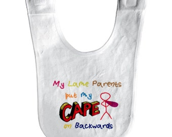 Comic Book Baby Bib: My Lame Parents Put My Cape on Backwards