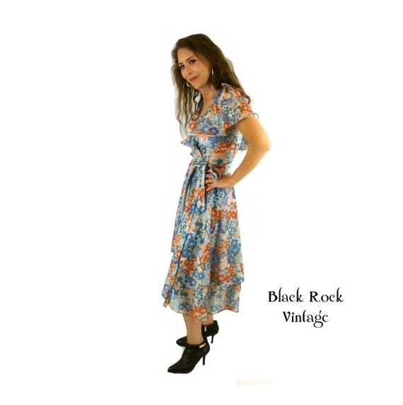 Fluttery Disco Wrap Dress, 70s Floral Dress, Soft Grunge Dress, Size Small