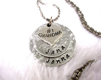 Super Sale Now Grandma Necklace, Personalized Jewelry, Hand Stamped Jewelry, Grandma Jewelry, Jewelry for Grandma, #1 Grandma Jewelry, 2 dis