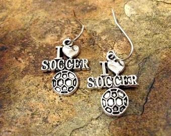 Soccer Earrings, Soccer Jewelry, Sports Jewelry, Soccer Jewelry Set