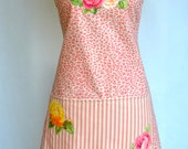 Womens Full Apron Shabby French Country Cabbage Rose Peach Pink Floral