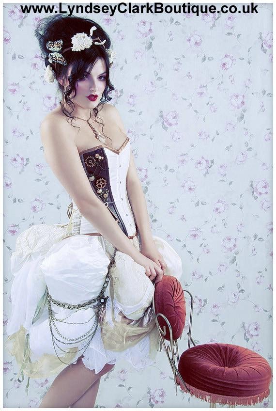 Steampunk Victorian corset bustle unique alternative wedding dress / prom Custom MADE TO ORDER/ measure