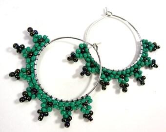 Hoop Earrings with Beads - Teal Green - Hoop Earrings - 25mm