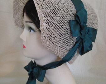 Regency/Victorian Straw Bonnet. Jane Austen. Handmade with Green Ribbon.