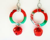 Mt Dew Christmas Earrings Holiday Jewelry Jingle Bell Earrings Recycled by Absolute Jewelry