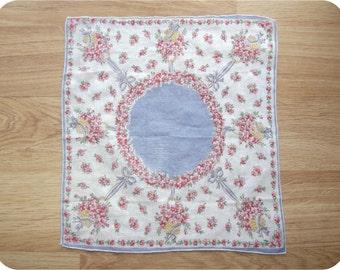 Vintage 40s Subtly Sheer Cotton Handkerchief Flower Baskets Bonnets Bows Pink White & Periwinkle