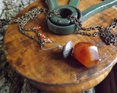 Carnelian Pendant Long Boho Necklace