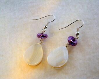 Shell Tear Drop Earrings with Purple Pearl, Purple and White Earrings, Shell Earring