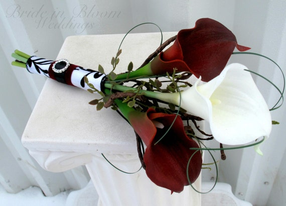 Bridal bouquet real touch red white calla lily Bridesmaid bouquet damask wedding