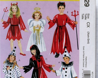 Toddler Child Size 3 4 5 6 McCalls Easy Devil Angel Clown Jester Robe Hat Hood Kids Boy GIrl Uncut Sew Sewing Pattern
