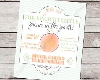 Peach Picnic Party Printable Invitation. Peach, Green, Orange, Coral, Pink. Chevron. Party Print.