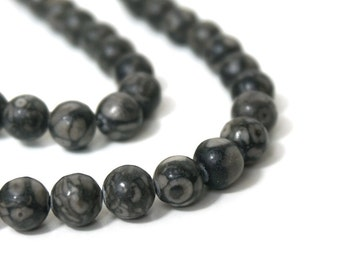 8mm Round Fossil Agate Gemstone Beads, Full & Half Strands Available (887S)