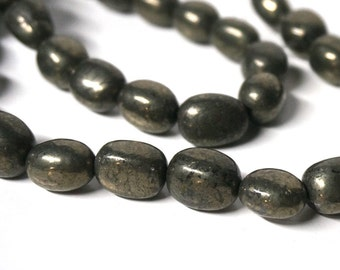 pyrite nugget beads, smooth tumbled nuggets, small to medium, 10mm - 16mm range,  full bead strand (1056G)