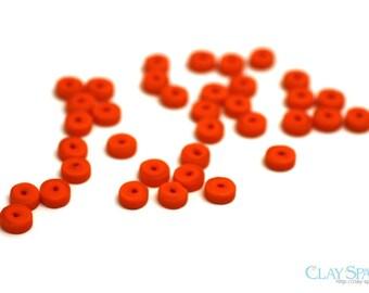 Orange Glass Heishi Button Beads. Orange Sea Glass Heishi Beads. 9mm Heishi Button Beads. Sea Glass for Necklaces // B83SH