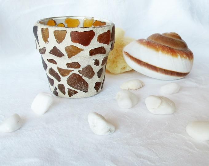 Mosaic, Candle Holder, Amber, Brown, Beach Glass, Tea light holder, Votive Holder, Handmade, Sea Glass, Gift Idea, Home Decor