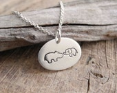 Hippo and Elephant Necklace, Mothers Necklace, Siblings, Fine Silver, Sterling Silver Chain, Ready To Ship
