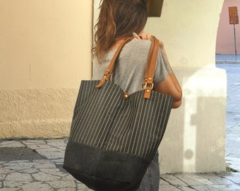 Striped tote,Shopping bag, shoulder bag made in fabric- leather,  named Natalie,made to order