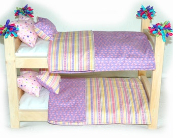 Double Doll Bunk Bed - Sweet Heart American Made Girl Doll Bunk Bed - Fits 18 inch dolls and AG dolls