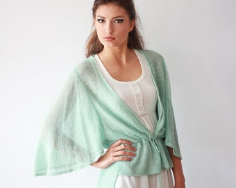 Loose Fit Mint Jacket Aqua Sweater Pastel Top Knit Blouse Sheer Linen Cardigan, Custom Size and Color
