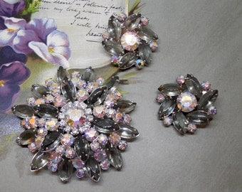 JULIANA Silver Snowflake Rhinestone Brooch & Earrings Set