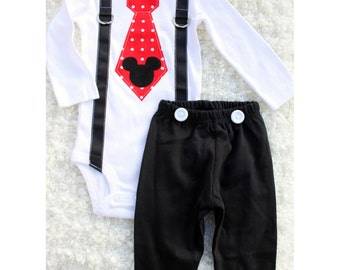 Mickey Mouse Birthday Tie and Suspenders Bodysuit & Black Pants w White Buttons SET Baby Boy 1st Birthday Outfit Party Disney Style Clothing