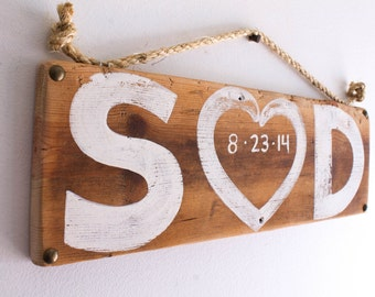 Shabby Chic Wedding Decor Personalized Love Sign Reclaimed Wood Beach Wedding Reception Anniversary Vintage Wedding Photo Prop Bridal Shower