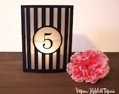 Striped Luminary Wedding Table Numbers. Wedding Table Markers, Luminaries, Wedding Decor