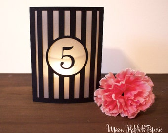Striped Luminary Wedding Table Numbers. Wedding Table Markers, Luminaries, Wedding Decor