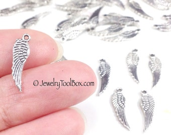 Angel Wing Charm, Antique Silver Feather Dangle Charm, Pewter Charm, Double Sided, Earring Components, 17x5mm, Lot Size 20 to 100,  #1144
