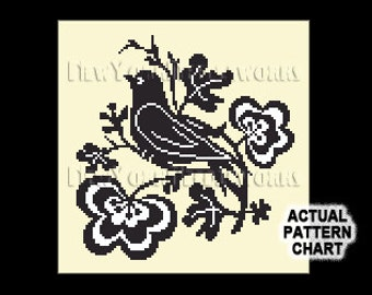 Bird Silhouette Cross Stitch, Black Bird Cross Stitch, Bird Silhouette, Bird Cross Stitch, Birds Silhouette, Birds from NewYorkNeedleworks