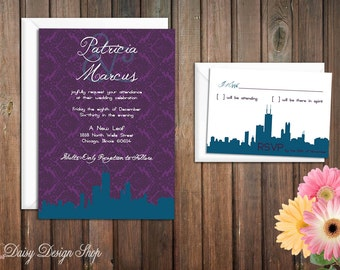 Wedding Invitation - Chicago City Silhouette with Damask Background - Invitation and RSVP Card with Envelopes