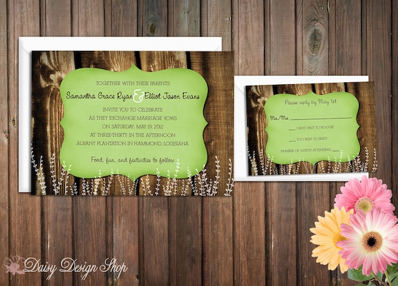 Wedding Invitation - Wood Planks and Distressed Frame with Flower Silhouettes - Rustic Country - Invitation and RSVP Card with Envelopes