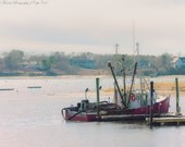 COASTAL Photography - Red FISHING BOAT Moored for the Day, Cape Cod Print, Chatham Photo, Travel Art, New England Photography, Lobster Boat