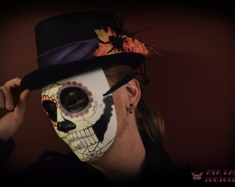 Halloween Harvest Day of the Dead Mens Mask and Hat - Mans October Groom Skull Tattoo Spider Web Orange Puple Skeleton Dia de los muertos