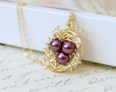 Gold Filled Bird's Nest Necklace with Faux Pearls