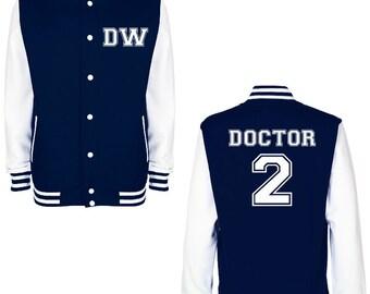DW DOCTOR 2 Varsity Jacket - FREE Shipping - British Science Fiction (Sci Fi) Fan Geek Baseball Jacket