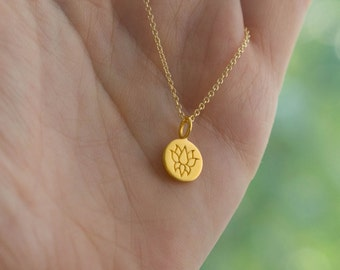Gold Lotus Flower Disc Necklace - Yoga Jewelry . 24K Gold-Dipped Bronze Charm on 14K Gold-Filled Chain . Outdoor & Sportsman Gift Ideas