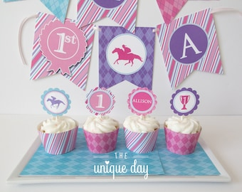 Kentucky Derby Birthday for Girl - Cupcake Toppers - Cupcake Wrappers - horse racing - jockey themed - Printable - Personalized // DERG-02