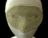 ON RESERVE For Jesse - Light Green Masquerade Ball Mask With Iridescent Glitter, Faux Pearl and Iridescent Beads and Cream Lace