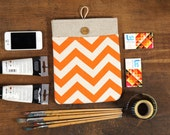 60% OFF Winter SALE White Linen iPad Case with Orange Chevron print pocket and button closure. Padded Cover for iPad 1 2 3 4. iPad Sleeve
