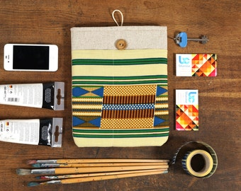 30% OFF SALE White Linen iPad Case with African Kente style print pocket. Padded Cover for iPad 1 2 3 4. iPad Sleeve Bag.