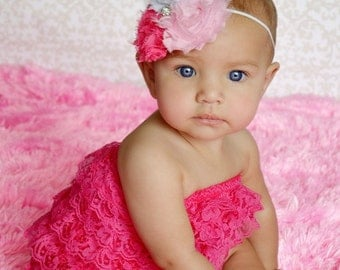 Pink Petti Romper Set - Lace Petti Romper and Headband - Baby Girl Toddler Photo Prop