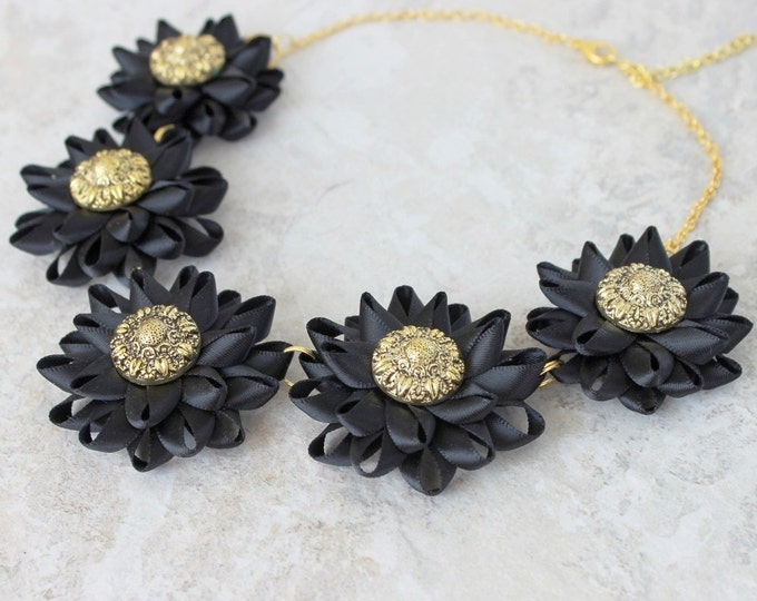 Black Necklace, Black Choker Necklace, Formal Necklace, Black and Gold Necklace, Black Flower Choker Necklace, Short Necklace, Black Jewelry