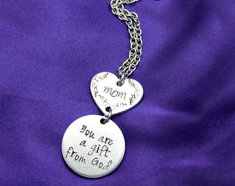 Mom You are a Gift from God hand stamped necklace
