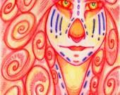 4x6 Printed Postcard, Octopus Portrait, Fantasy Magical Mythology, Tribal Ethnic Symbolism, Zentangle